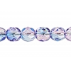 Fire polished 6mm Crystal/rose-capri Blue Two-tone Aurora Borealis